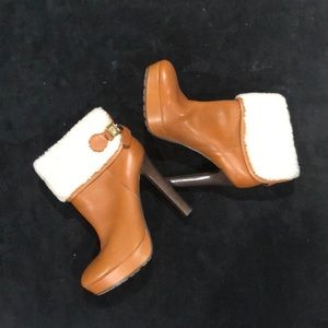 Coach shearling ankle leather boots NWT
